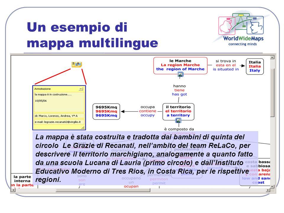 Un esempio di mappa multilingue La mappa è stata costruita e tradotta dai bambini di quinta del circolo Le Grazie di Recanati, nellambito del team ReL