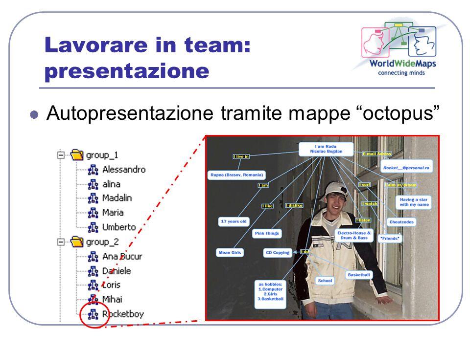 Lavorare in team: presentazione Autopresentazione tramite mappe octopus
