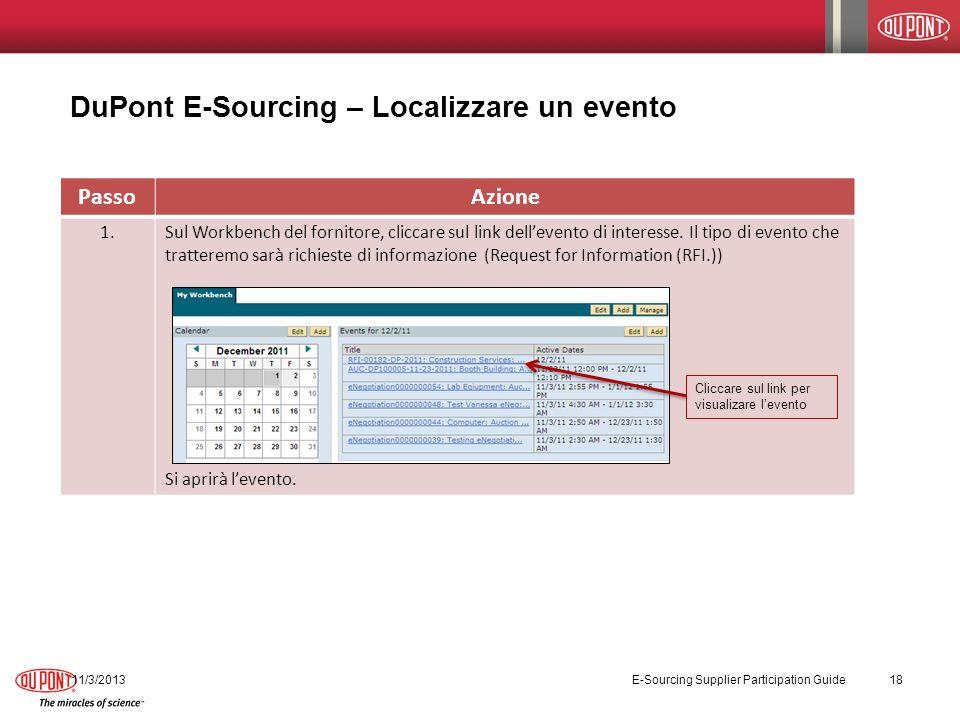PassoAzione 1.Sul Workbench del fornitore, cliccare sul link dellevento di interesse.