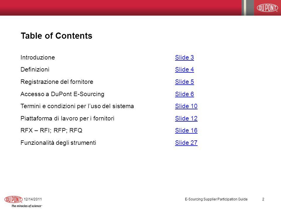 Workbench dei Fornitori 12/14/2011 E-Sourcing Supplier Participation Guide 13
