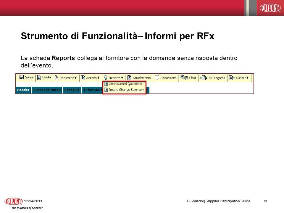Strumento di Funzionalità– Informi per RFx La scheda Reports collega al fornitore con le domande senza risposta dentro dellevento. 12/14/2011 E-Sourci