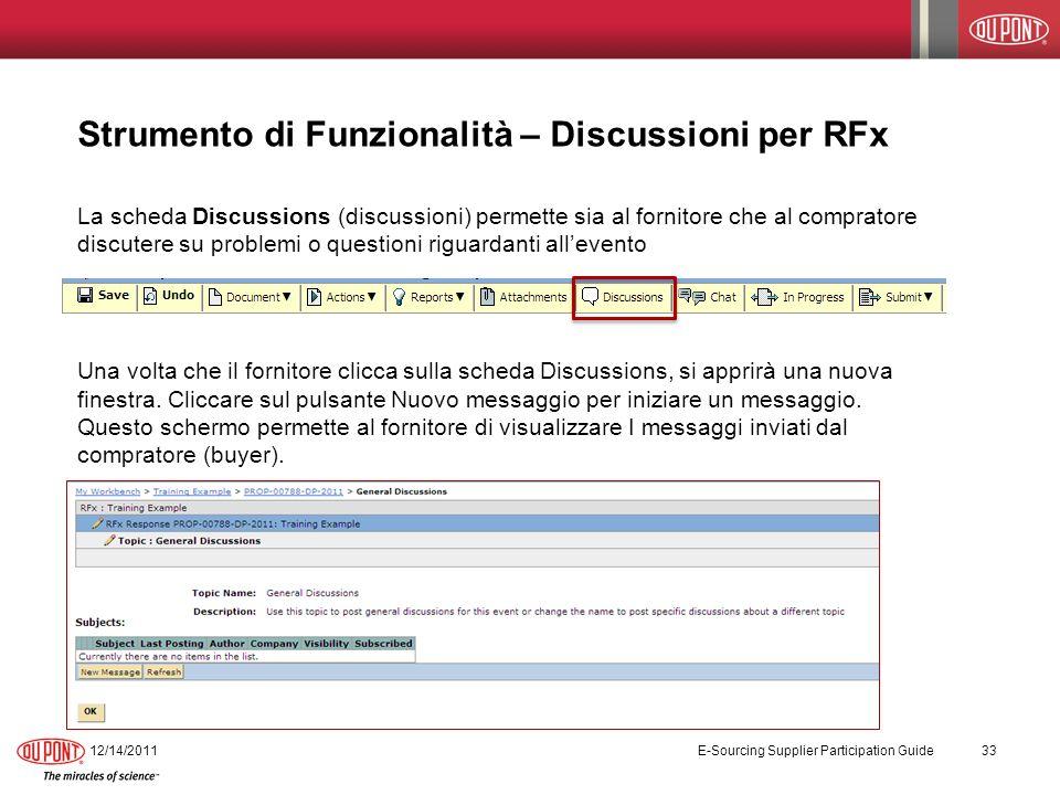 Strumento di Funzionalità – Discussioni per RFx La scheda Discussions (discussioni) permette sia al fornitore che al compratore discutere su problemi