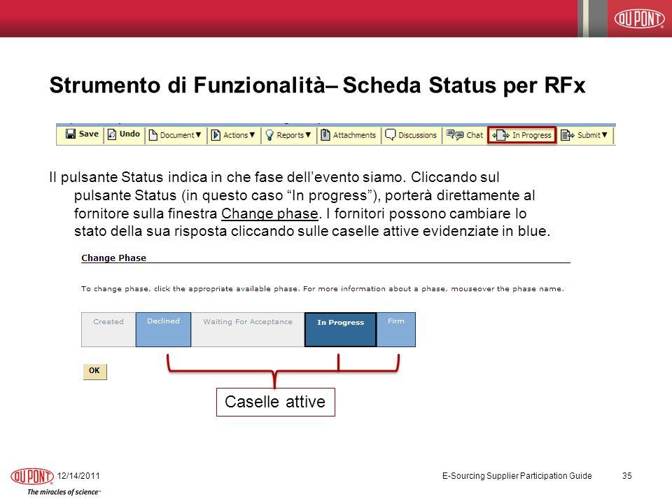 Strumento di Funzionalità– Scheda Status per RFx Il pulsante Status indica in che fase dellevento siamo. Cliccando sul pulsante Status (in questo caso