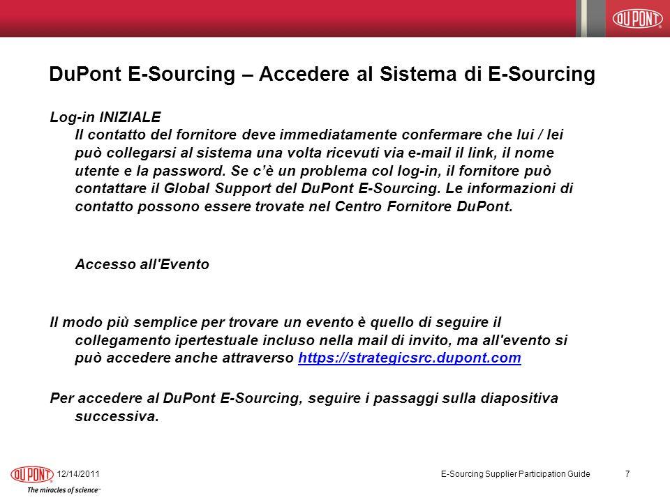E-Sourcing – Strumento di funzionalità 12/14/2011 E-Sourcing Supplier Participation Guide 28