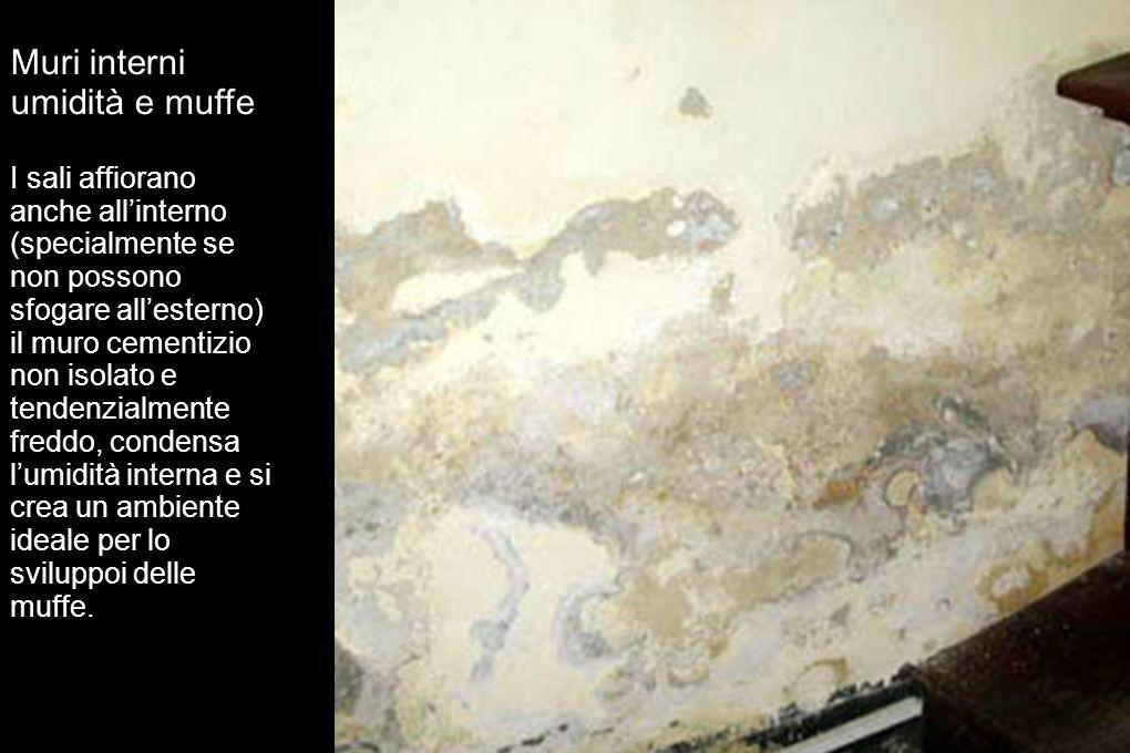 Muri interni umidità e muffe I sali affiorano anche allinterno (specialmente se non possono sfogare allesterno) il muro cementizio non isolato e tende