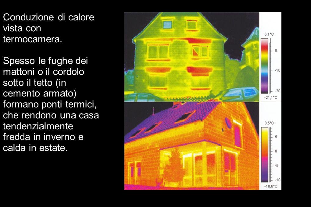 Conduzione di calore vista con termocamera. Spesso le fughe dei mattoni o il cordolo sotto il tetto (in cemento armato) formano ponti termici, che ren