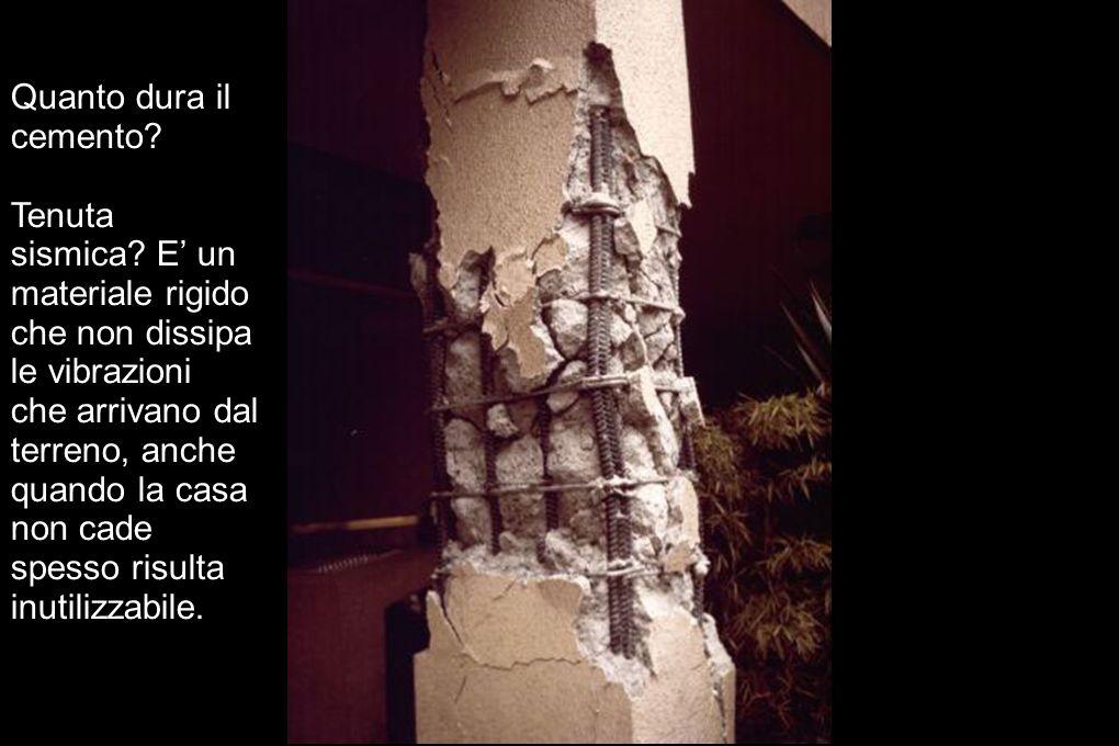 Quanto dura il cemento? Tenuta sismica? E un materiale rigido che non dissipa le vibrazioni che arrivano dal terreno, anche quando la casa non cade sp