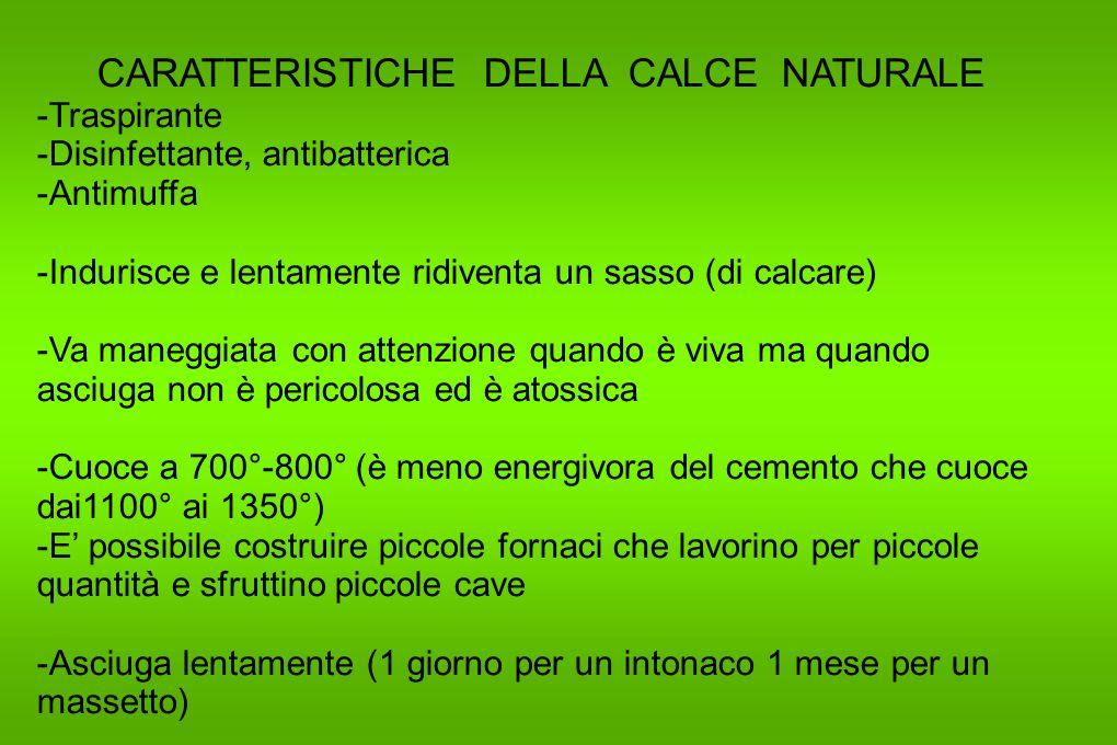 CARATTERISTICHE DELLA CALCE NATURALE -Traspirante -Disinfettante, antibatterica -Antimuffa -Indurisce e lentamente ridiventa un sasso (di calcare) -Va