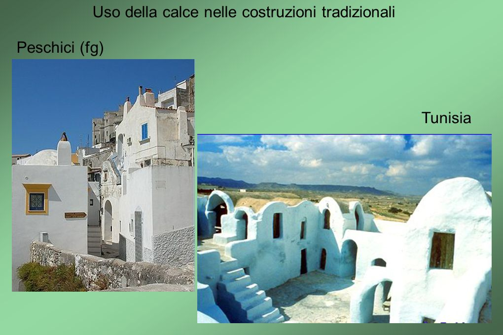 Uso della calce nelle costruzioni tradizionali Peschici (fg) Tunisia