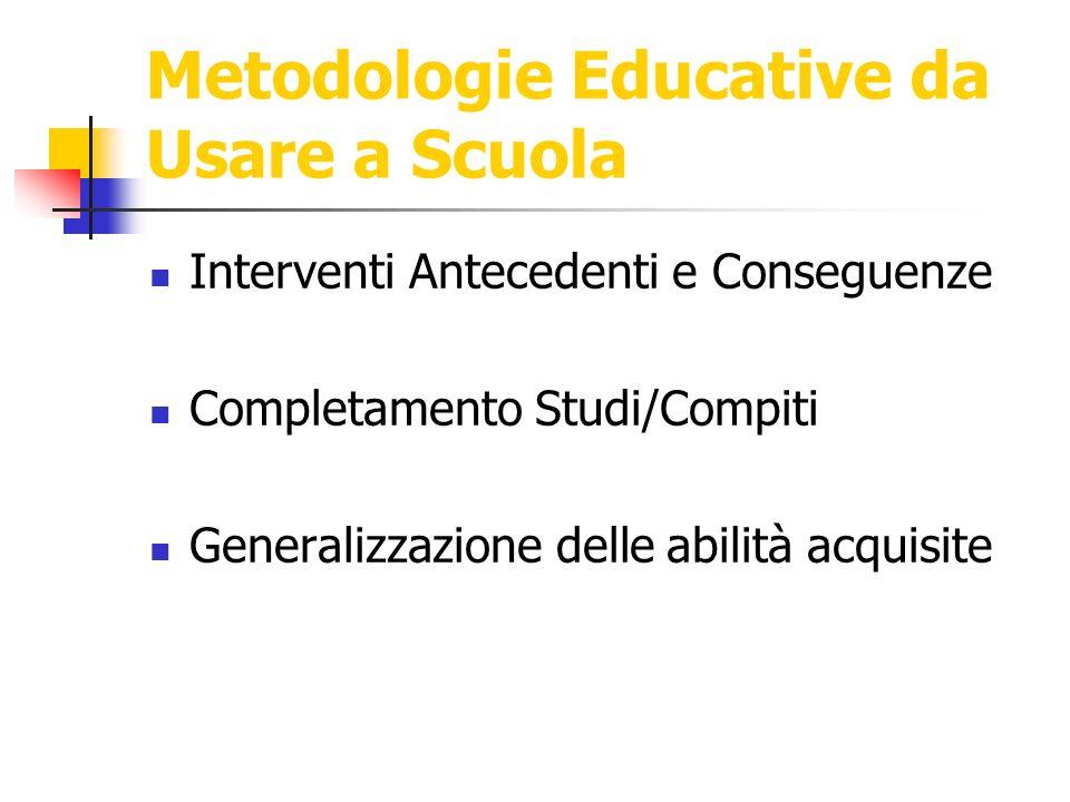 Metodologie Educative da Usare a Scuola Interventi Antecedenti e Conseguenze Completamento Studi/Compiti Generalizzazione delle abilità acquisite
