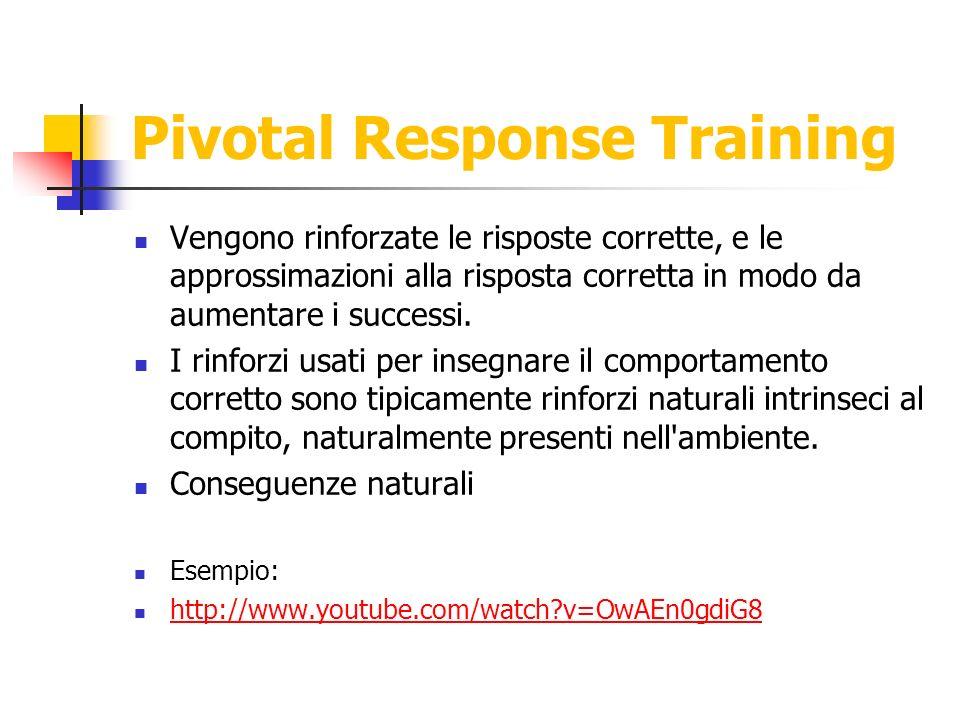 Pivotal Response Training Vengono rinforzate le risposte corrette, e le approssimazioni alla risposta corretta in modo da aumentare i successi. I rinf