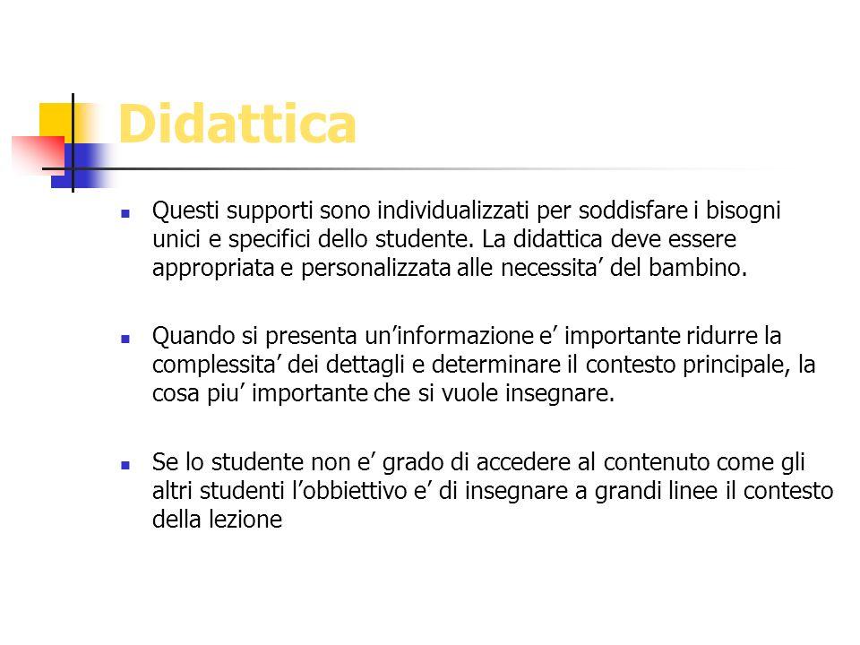 Didattica Questi supporti sono individualizzati per soddisfare i bisogni unici e specifici dello studente. La didattica deve essere appropriata e pers