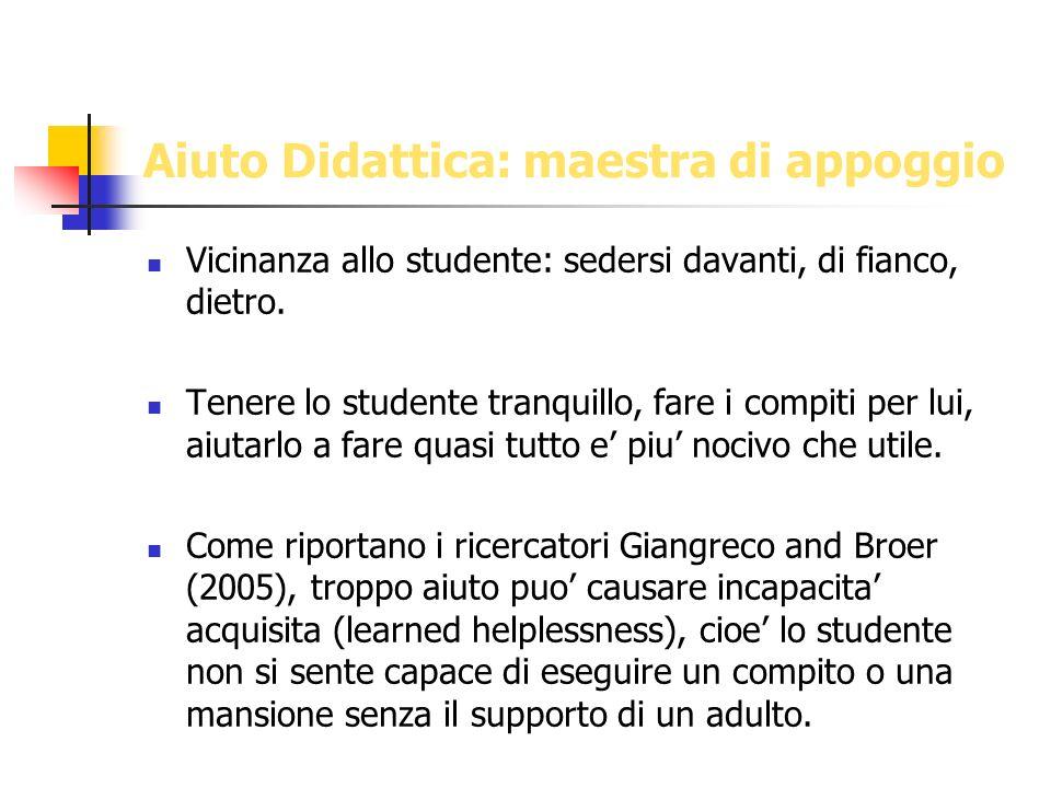 Aiuto Didattica: maestra di appoggio Vicinanza allo studente: sedersi davanti, di fianco, dietro. Tenere lo studente tranquillo, fare i compiti per lu