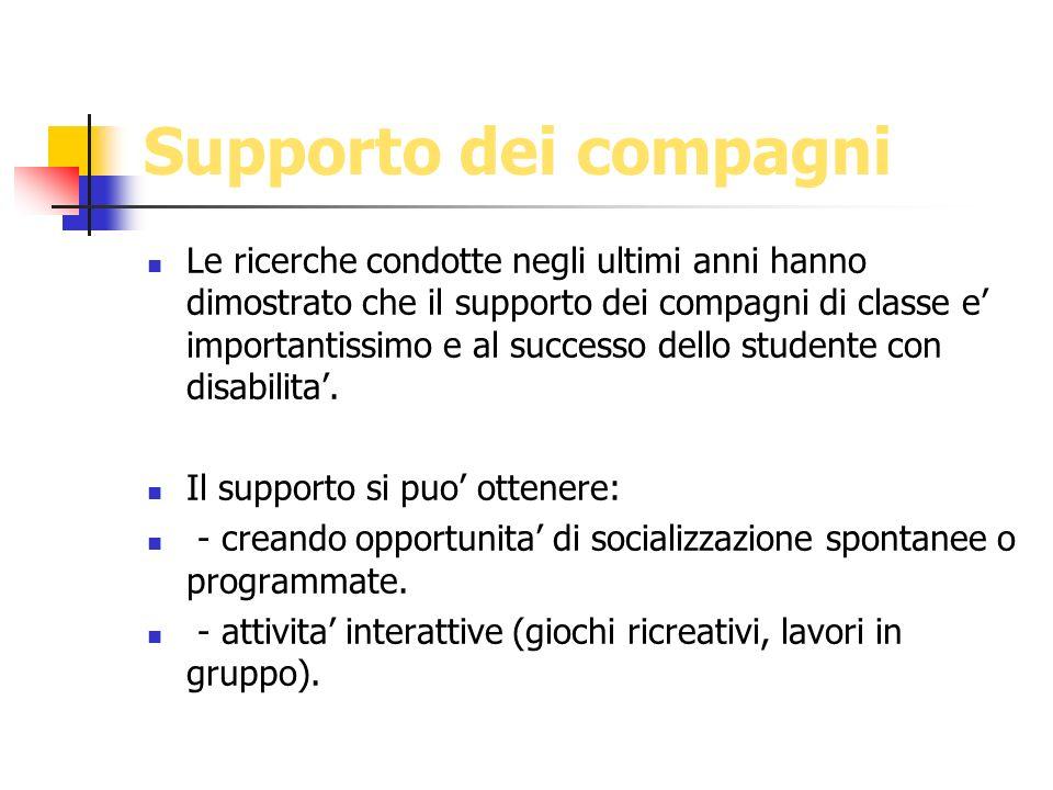 Supporto dei compagni Le ricerche condotte negli ultimi anni hanno dimostrato che il supporto dei compagni di classe e importantissimo e al successo d