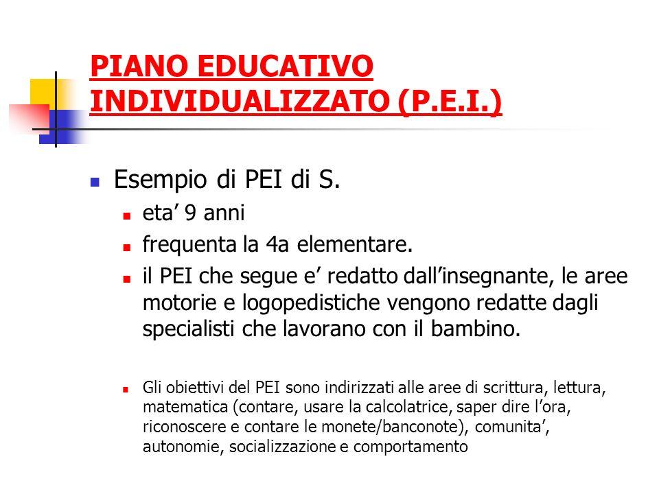 PIANO EDUCATIVO INDIVIDUALIZZATO (P.E.I.) Esempio di PEI di S. eta 9 anni frequenta la 4a elementare. il PEI che segue e redatto dallinsegnante, le ar