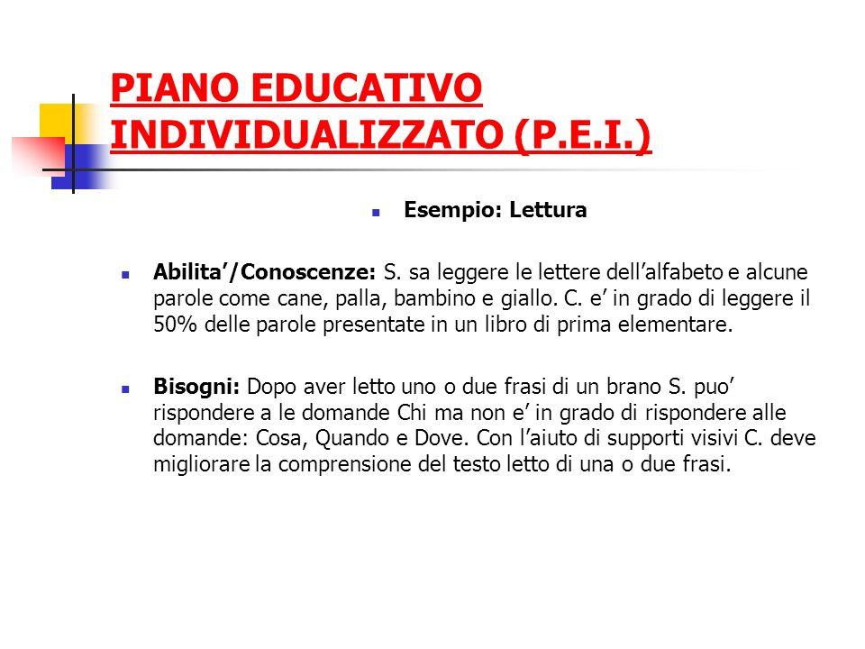 PIANO EDUCATIVO INDIVIDUALIZZATO (P.E.I.) Esempio: Lettura Abilita/Conoscenze: S. sa leggere le lettere dellalfabeto e alcune parole come cane, palla,