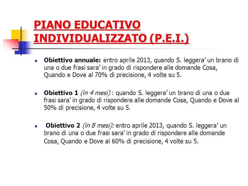 PIANO EDUCATIVO INDIVIDUALIZZATO (P.E.I.) Obiettivo annuale: entro aprile 2013, quando S. leggera un brano di una o due frasi sara in grado di rispond