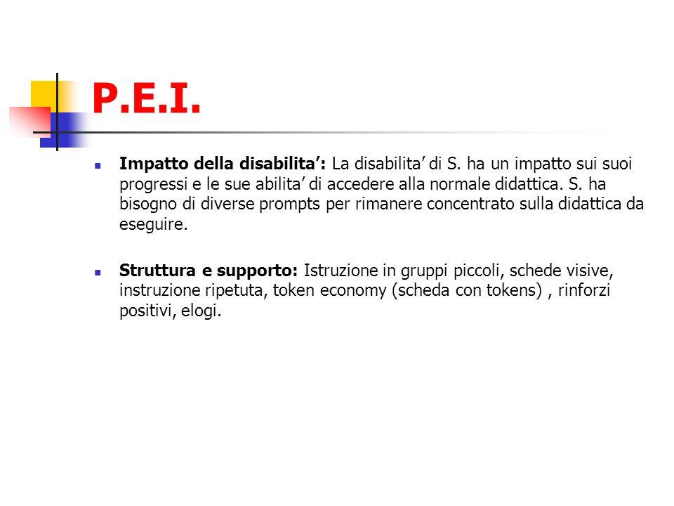 P.E.I. Impatto della disabilita: La disabilita di S. ha un impatto sui suoi progressi e le sue abilita di accedere alla normale didattica. S. ha bisog
