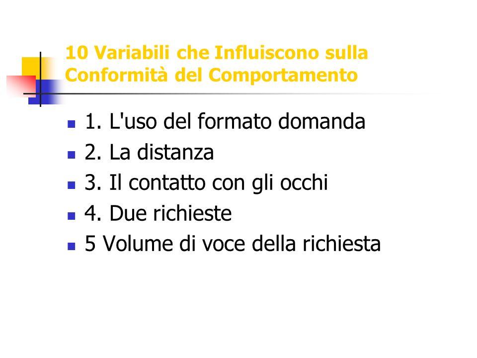 10 Variabili che Influiscono sulla Conformità del Comportamento 1. L'uso del formato domanda 2. La distanza 3. Il contatto con gli occhi 4. Due richie