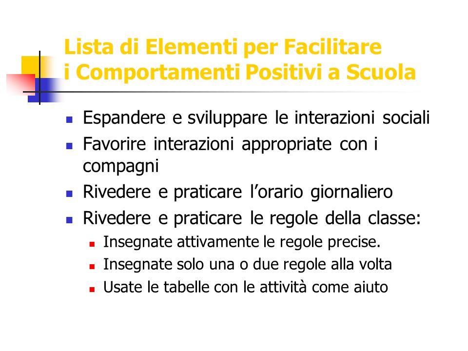 Lista di Elementi per Facilitare i Comportamenti Positivi a Scuola Espandere e sviluppare le interazioni sociali Favorire interazioni appropriate con