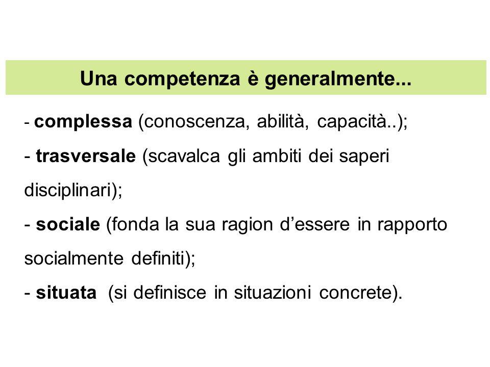 Una competenza è generalmente... - complessa (conoscenza, abilità, capacità..); - trasversale (scavalca gli ambiti dei saperi disciplinari); - sociale