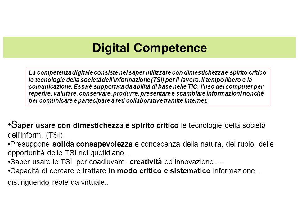 Digital Competence S aper usare con dimestichezza e spirito critico le tecnologie della società dellinform. (TSI) Presuppone solida consapevolezza e c