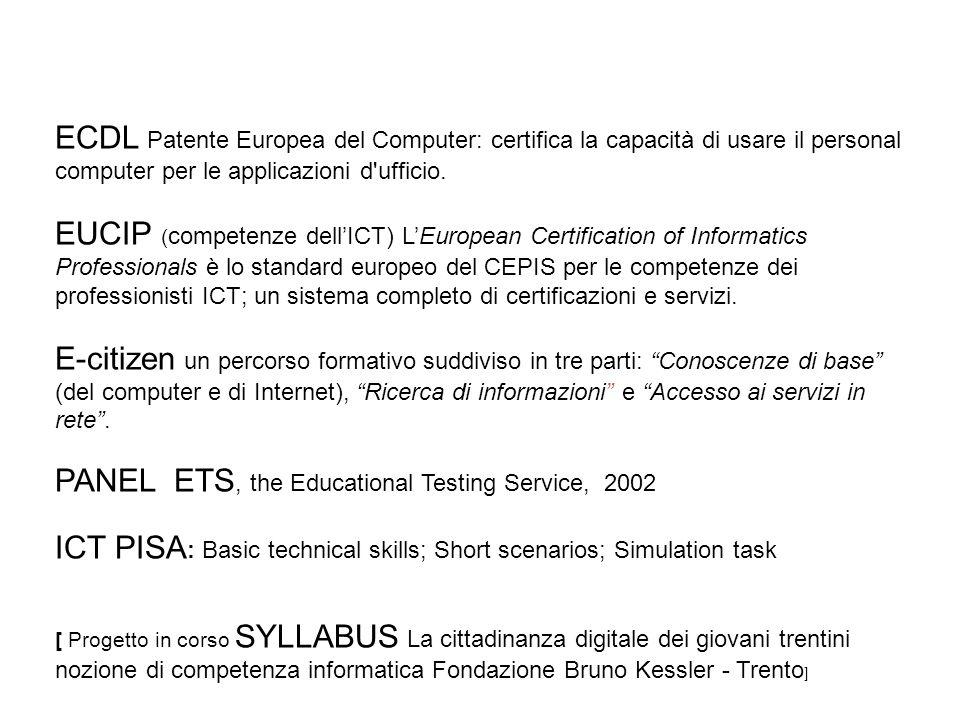 ECDL Patente Europea del Computer: certifica la capacità di usare il personal computer per le applicazioni d'ufficio. EUCIP ( competenze dellICT) LEur