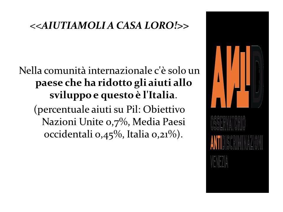 > Nella comunità internazionale c'è solo un paese che ha ridotto gli aiuti allo sviluppo e questo è l'Italia. (percentuale aiuti su Pil: Obiettivo Naz