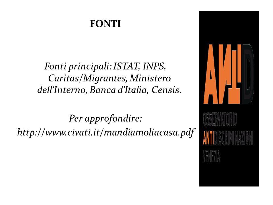FONTI Fonti principali: ISTAT, INPS, Caritas/Migrantes, Ministero dellInterno, Banca dItalia, Censis. Per approfondire: http://www.civati.it/mandiamol