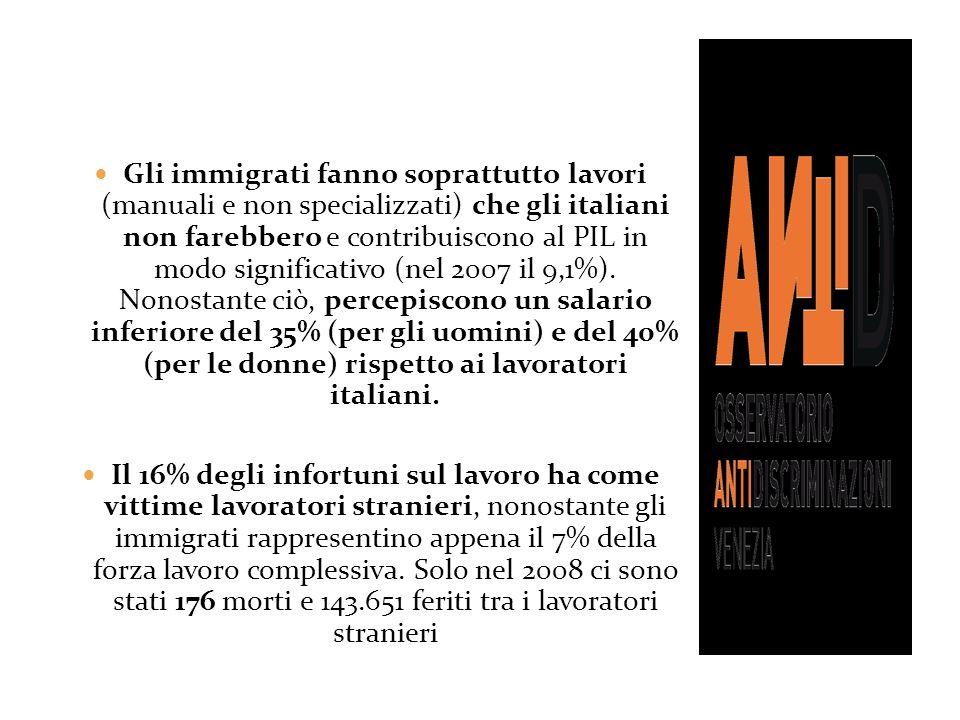 Gli immigrati fanno soprattutto lavori (manuali e non specializzati) che gli italiani non farebbero e contribuiscono al PIL in modo significativo (nel