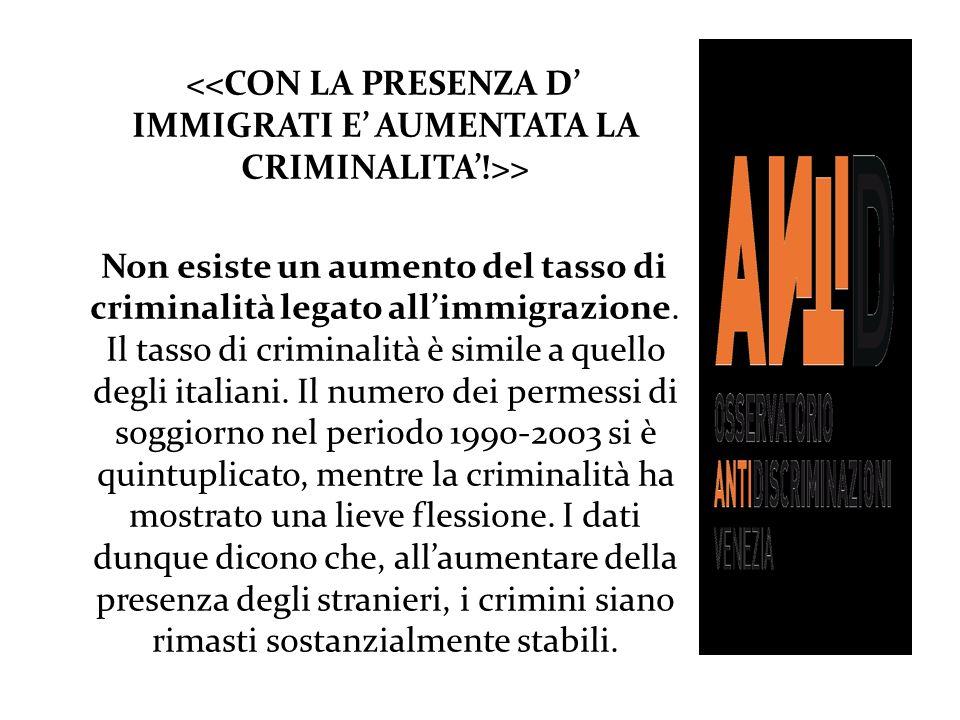 > Non esiste un aumento del tasso di criminalità legato allimmigrazione. Il tasso di criminalità è simile a quello degli italiani. Il numero dei perme