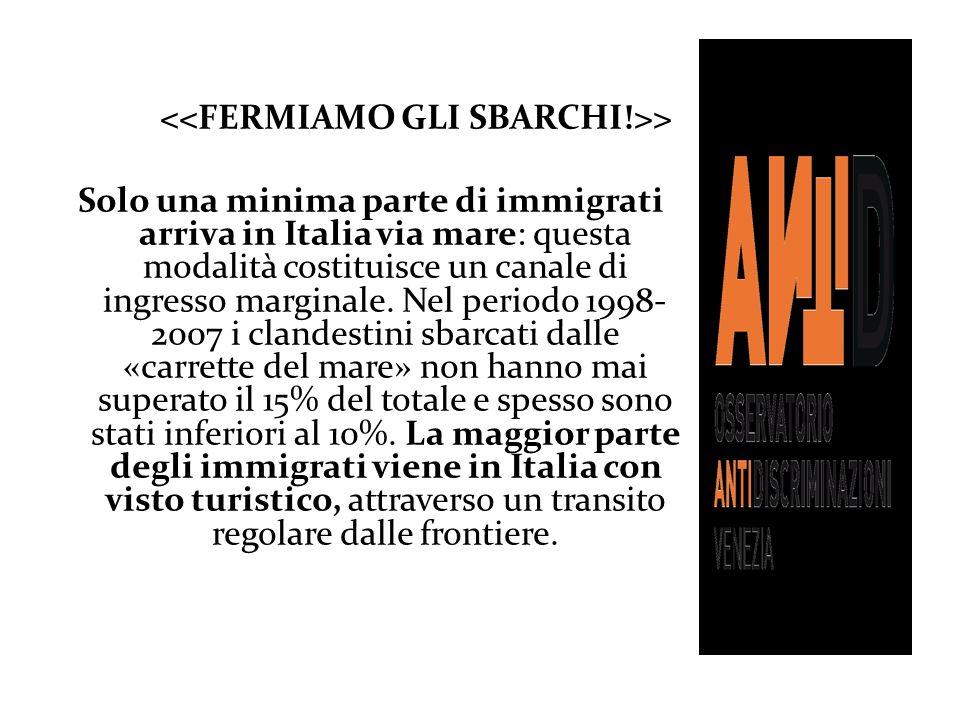 > Solo una minima parte di immigrati arriva in Italia via mare: questa modalità costituisce un canale di ingresso marginale. Nel periodo 1998- 2007 i