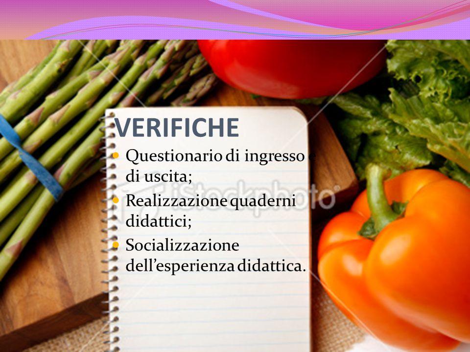 VERIFICHE Questionario di ingresso e di uscita; Realizzazione quaderni didattici; Socializzazione dellesperienza didattica.
