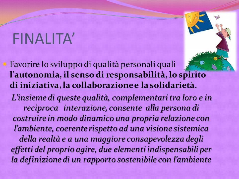 FINALITA Favorire lo sviluppo di qualità personali quali lautonomia, il senso di responsabilità, lo spirito di iniziativa, la collaborazione e la soli