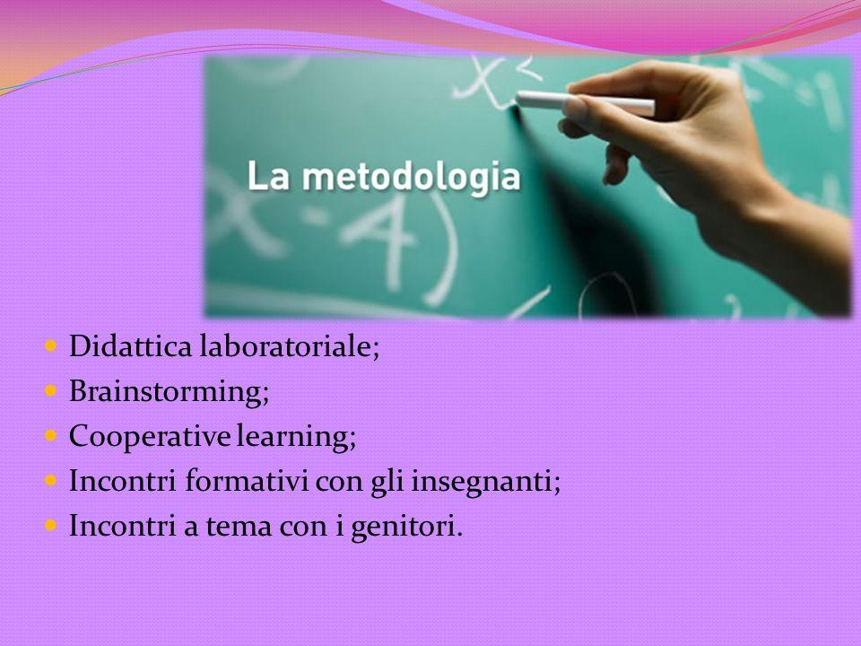 Didattica laboratoriale; Brainstorming; Cooperative learning; Incontri formativi con gli insegnanti; Incontri a tema con i genitori.