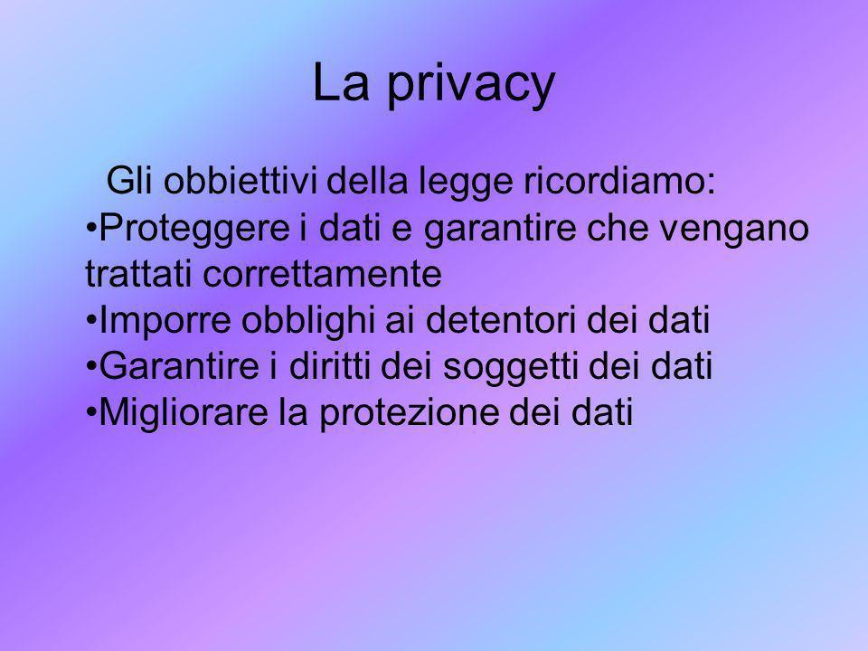 La privacy Gli obbiettivi della legge ricordiamo: Proteggere i dati e garantire che vengano trattati correttamente Imporre obblighi ai detentori dei d