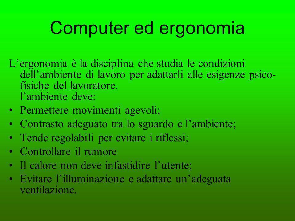 Computer ed ergonomia Lergonomia è la disciplina che studia le condizioni dellambiente di lavoro per adattarli alle esigenze psico- fisiche del lavora