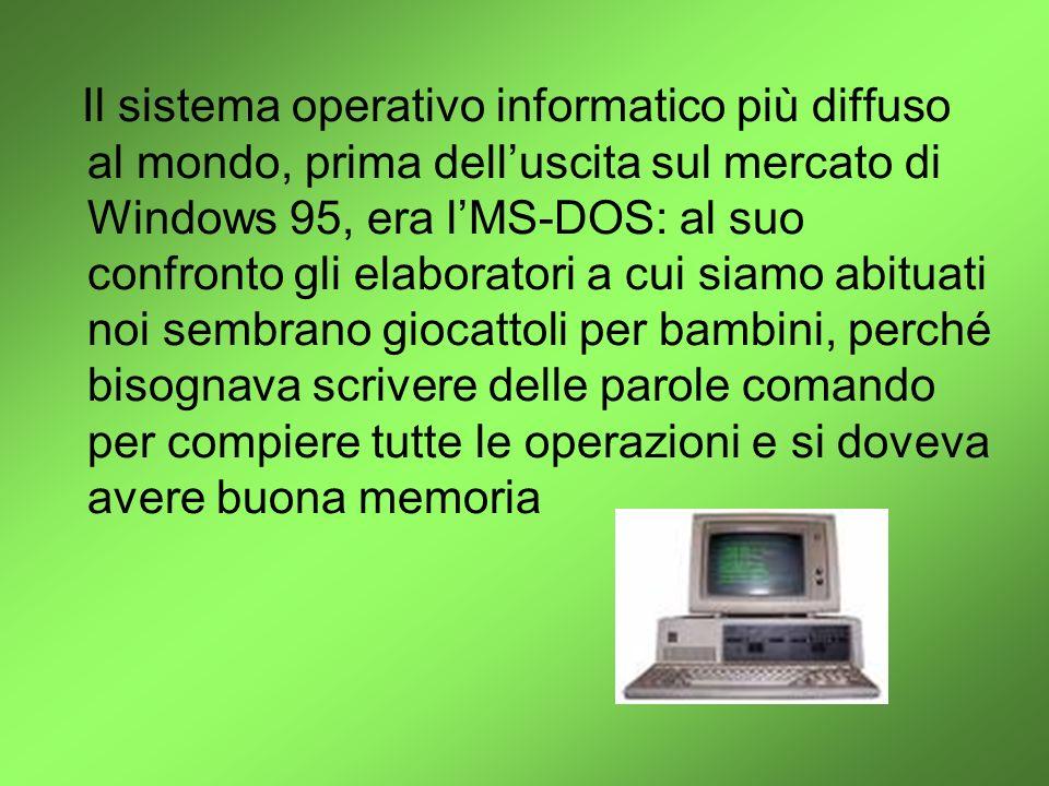 Il sistema operativo informatico più diffuso al mondo, prima delluscita sul mercato di Windows 95, era lMS-DOS: al suo confronto gli elaboratori a cui