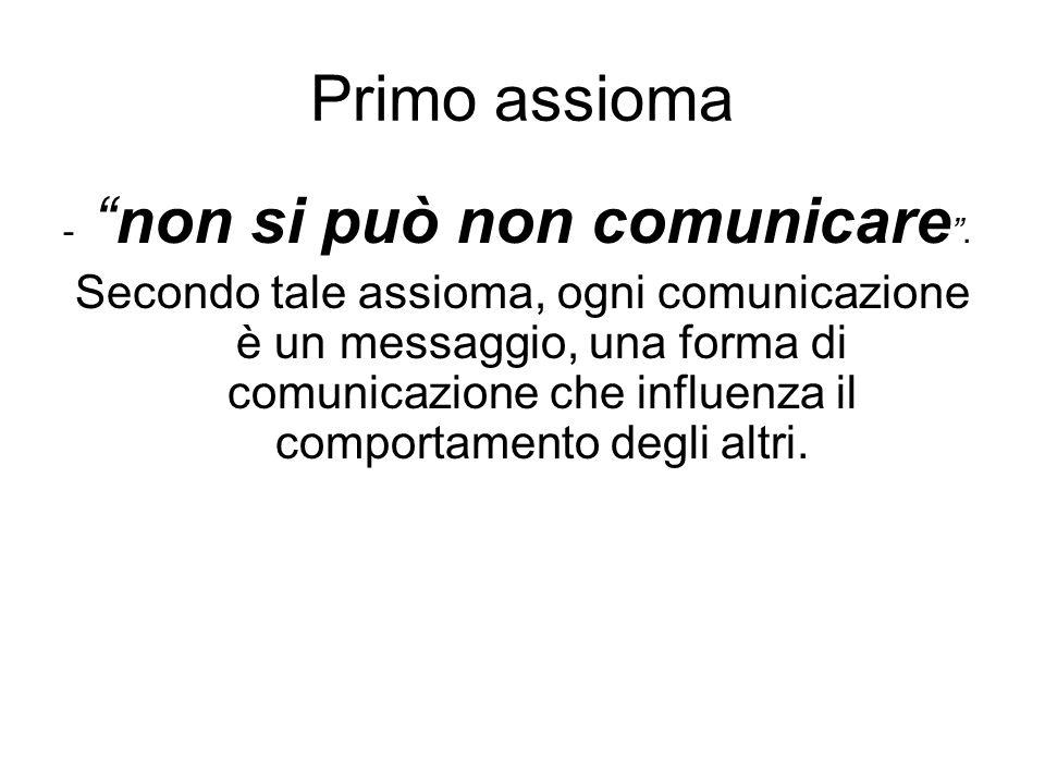 Primo assioma -non si può non comunicare. Secondo tale assioma, ogni comunicazione è un messaggio, una forma di comunicazione che influenza il comport