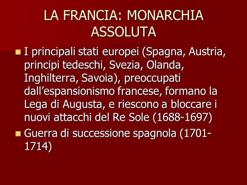 LA FRANCIA: MONARCHIA ASSOLUTA I principali stati europei (Spagna, Austria, principi tedeschi, Svezia, Olanda, Inghilterra, Savoia), preoccupati dalle