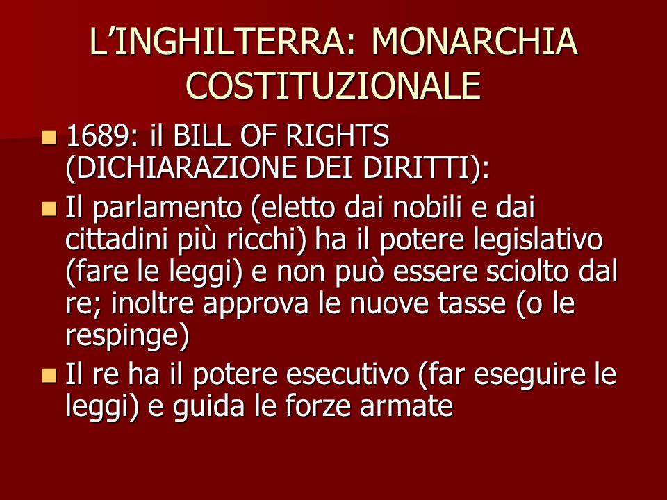 LINGHILTERRA: MONARCHIA COSTITUZIONALE 1689: il BILL OF RIGHTS (DICHIARAZIONE DEI DIRITTI): 1689: il BILL OF RIGHTS (DICHIARAZIONE DEI DIRITTI): Il pa