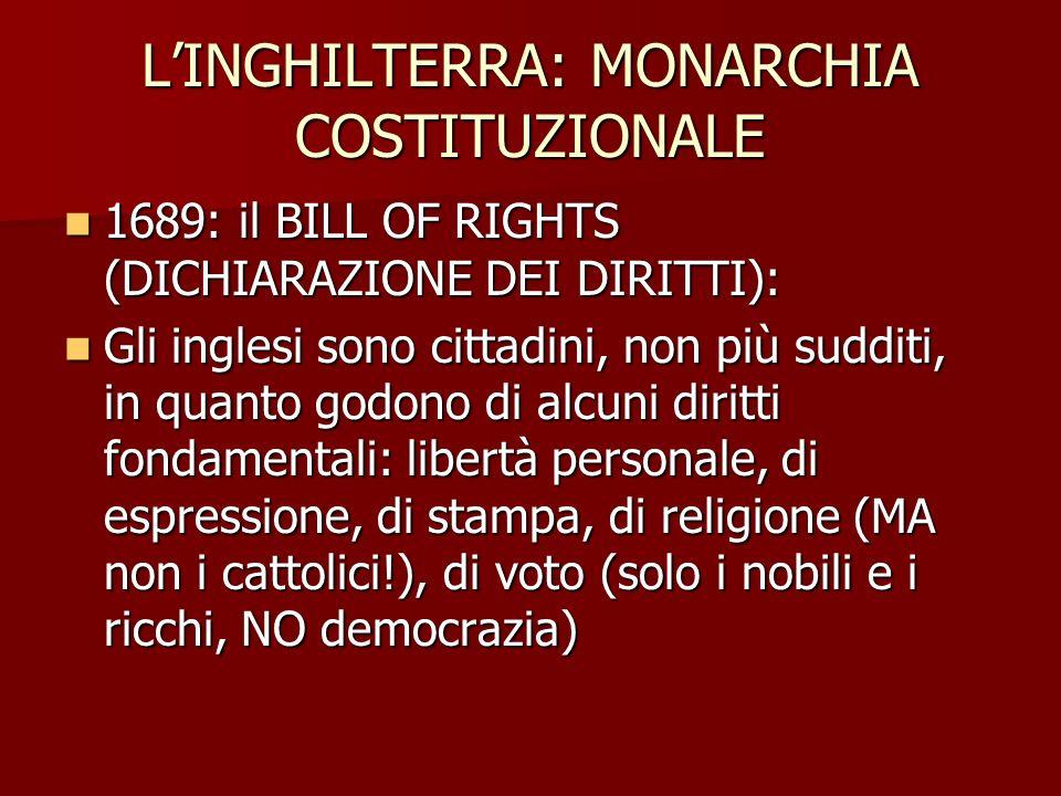 LINGHILTERRA: MONARCHIA COSTITUZIONALE 1689: il BILL OF RIGHTS (DICHIARAZIONE DEI DIRITTI): 1689: il BILL OF RIGHTS (DICHIARAZIONE DEI DIRITTI): Gli i