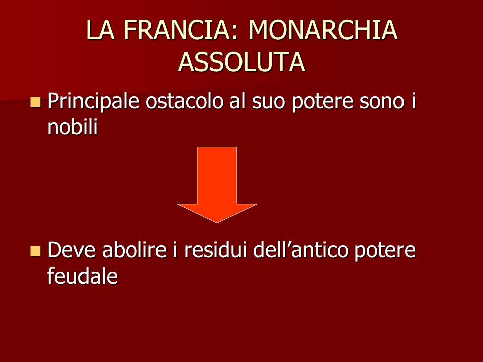 LA FRANCIA: MONARCHIA ASSOLUTA Principale ostacolo al suo potere sono i nobili Principale ostacolo al suo potere sono i nobili Deve abolire i residui
