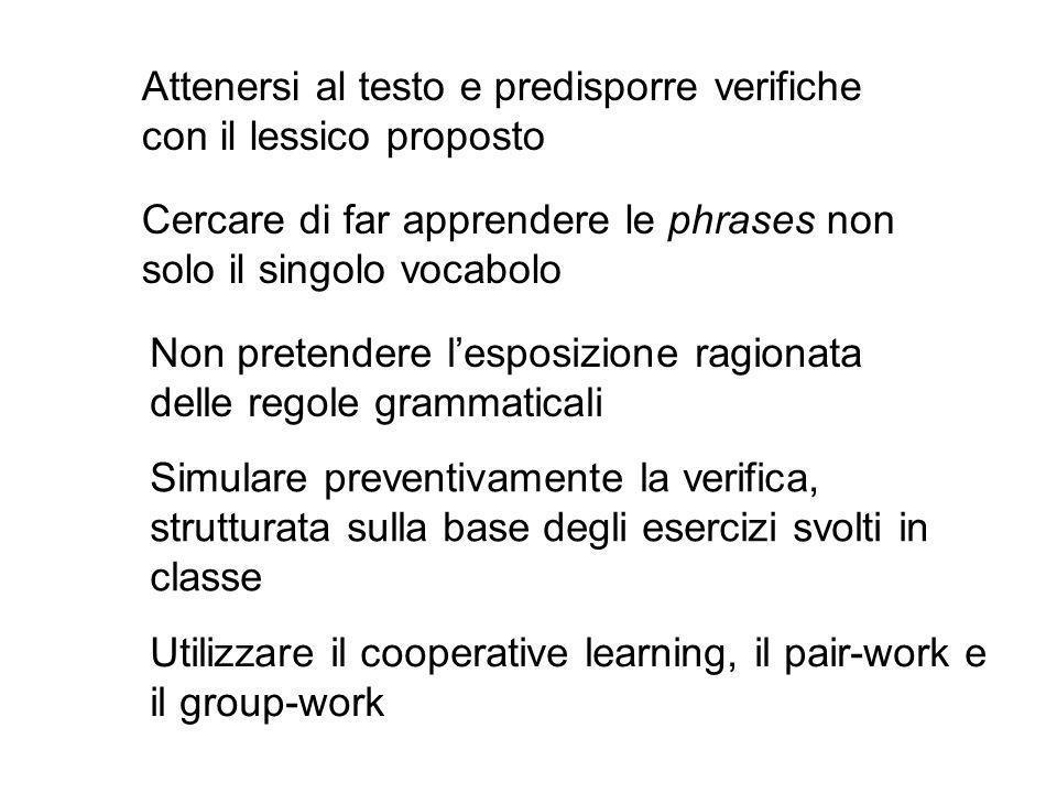 Utilizzare il cooperative learning, il pair-work e il group-work Attenersi al testo e predisporre verifiche con il lessico proposto Cercare di far app