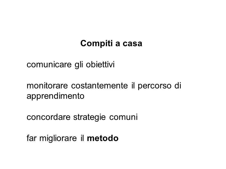 Compiti a casa comunicare gli obiettivi monitorare costantemente il percorso di apprendimento concordare strategie comuni far migliorare il metodo