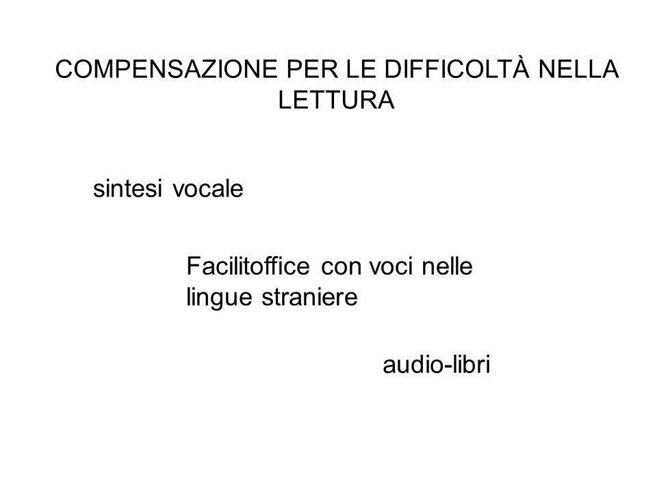 COMPENSAZIONE PER LE DIFFICOLTÀ NELLA LETTURA Facilitoffice con voci nelle lingue straniere sintesi vocale audio-libri