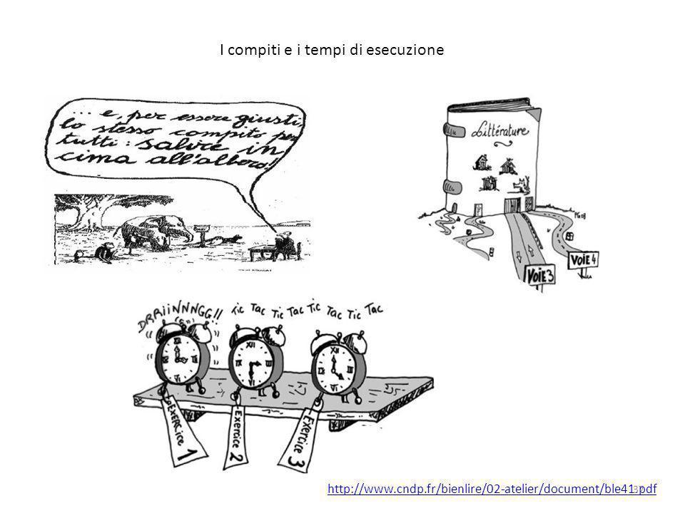 I compiti e i tempi di esecuzione http://www.cndp.fr/bienlire/02-atelier/document/ble41.pdf 37
