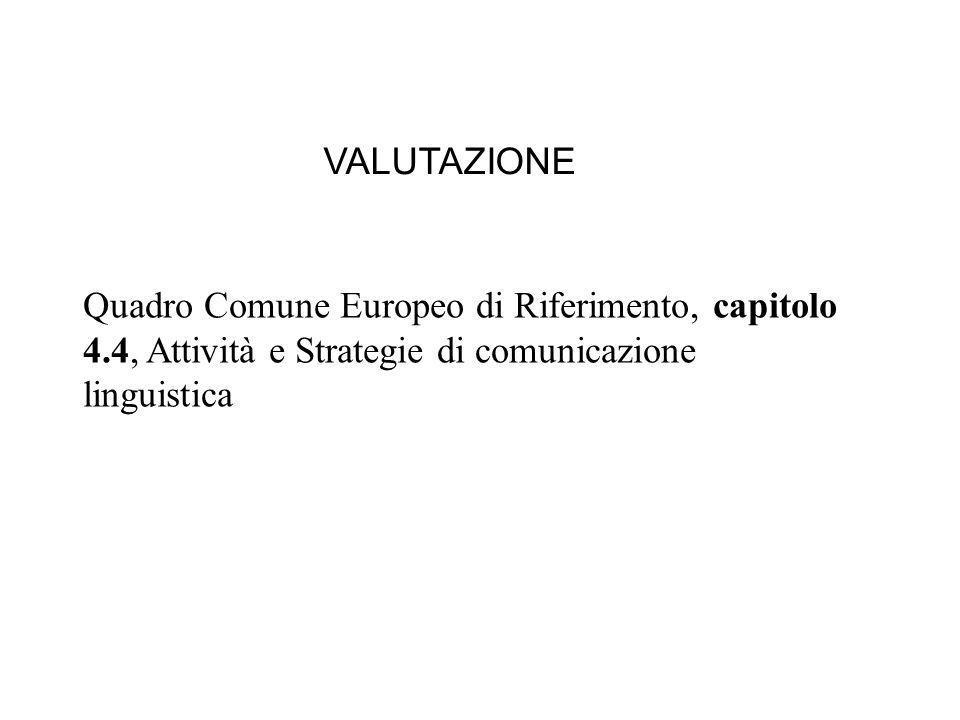 Quadro Comune Europeo di Riferimento, capitolo 4.4, Attività e Strategie di comunicazione linguistica VALUTAZIONE