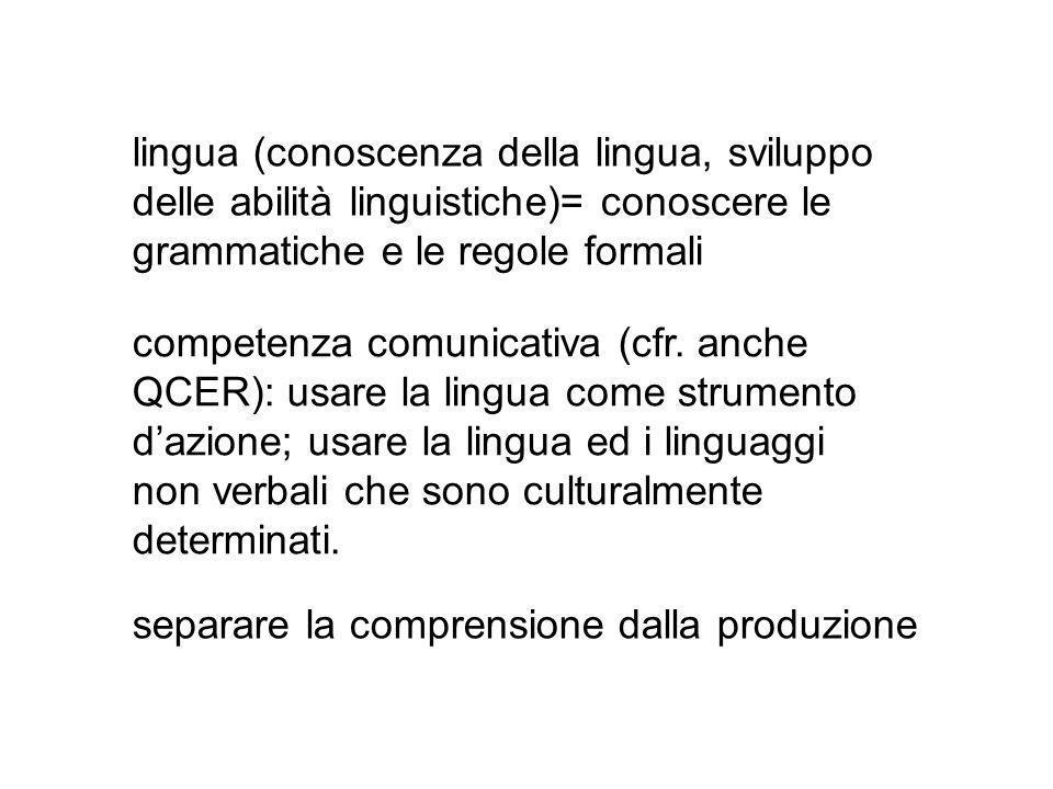 separare la comprensione dalla produzione lingua (conoscenza della lingua, sviluppo delle abilità linguistiche)= conoscere le grammatiche e le regole