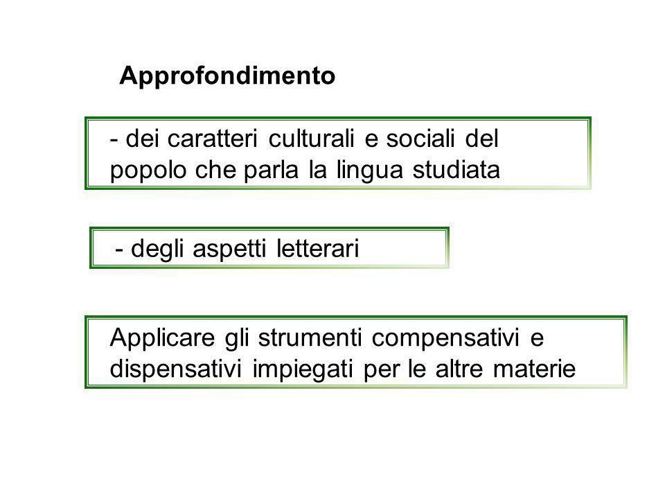 Approfondimento - dei caratteri culturali e sociali del popolo che parla la lingua studiata - degli aspetti letterari Applicare gli strumenti compensa